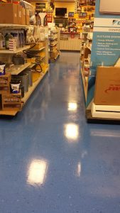 picture of store floor with new wax
